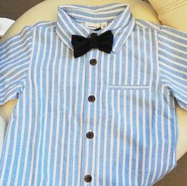 Hemd - Kinderhemd  hellblau mit Streifen - Biobaumwolle inkl. Mascherl - NAME IT MINI JUNGEN