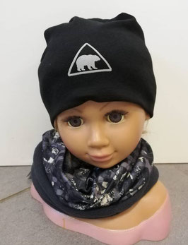 Kopfbedeckung - Beanie schwarz mit Eisbär reflektierend - NAME IT