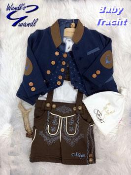 Tracht - Jacke - Trachtenjacke blau mit Hirschstick am Rücken - Baby und Kindertrachten