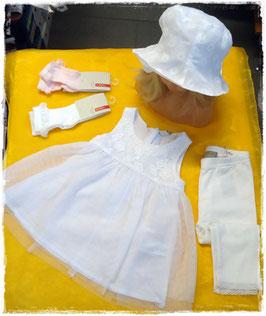 Kleid - Taufkleid weiß mit Tüll und Blumenmotiv - TAUFE