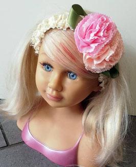 Kopfbedeckung - Stirnband - ivory - 2 verspielte Blüten - Taufe - Festmode