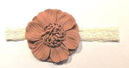Kopfbedeckung - Stirnband - Spitzenband - verspielte Blüte - ivory - rose - Taufe - Festmode