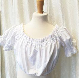 Tracht - Bluse - schlicht - weiß - Trachtenbluse für Kinder - Schulter variabel -  Dirndlbluse - Tracht Mädchen