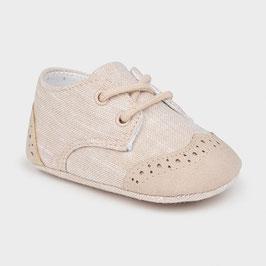Schuhe - Babyschuhe -  Leinen -Lochmuster - natur - Taufe