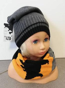 Kopfbedeckung - Beanie- grau - schwarz - Strick - Sterntaler