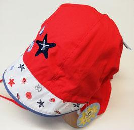 Kopfbedeckung - Mütze - Schirmmütze rot mit Meerestier & Nackenschutz  - Uv Schutz 50 + Sterntaler