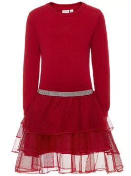 Kleid - Strickkleid Tüll - rot - NAME IT MINI MÄDCHEN