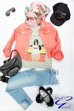 Jacke - Baumwoll - Jeans Jacke - Stretch - orange - NAME IT KIDS GIRL