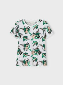 Shirt - Blumenshirt - kurzarm - Weiß-Bright White - NAME IT KIDS JUNGE