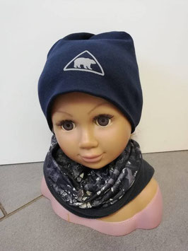 Kopfbedeckung - Beanie marine mit Eisbär reflektierend - NAME IT