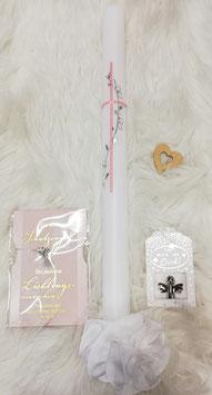 Taufkerze - Kreuz mit Ranke  in rosa/silber verspielt