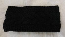 Kopfbedeckung - Strick Stirnband schwarz mit Zopfmuster - Windprofi