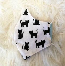Mund-Nasen-Maske - Katze - schwarz - weiß