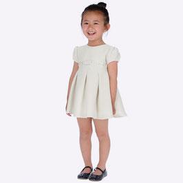 Kleid - mit Glanz -  Tailenband in ivory - Festkleid