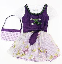 Tracht - Babydirndl - lila/grün - Satin - inkl. Tasche - Festdirndl - Gr 68 - Tracht Mädchen