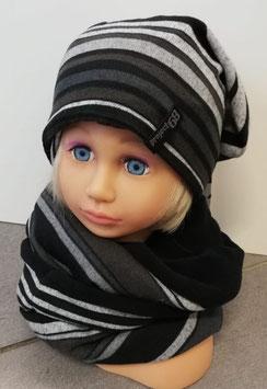 Kopfbedeckung - Streifen - Beanie - grau - schwarz - Sterntaler