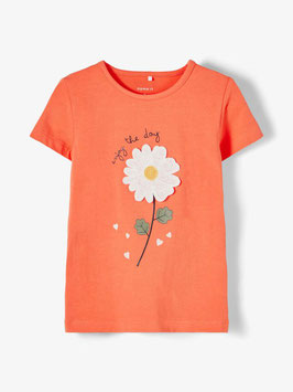 Shirt - orange - Blume - NAME IT KIDS MÄDCHEN
