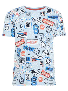 Shirt - Route 66 kurzarm hellblau - NAME IT MINI JUNGEN