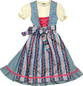 Tracht - Kinderdirndl - blau pink mit Rüschen am Rock - pinke Herzen - Tracht Mädchen