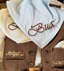 """Latzerl - hellblau mit brauner Schrift - """"BUA"""" - Babytracht"""