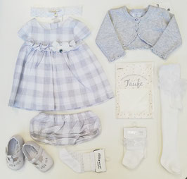 Kleid - Taufkleid Karo - grau - weiß - Leinen Kombination inkl. Hoserl - Fa. Mayoral - Taufe - Festmode