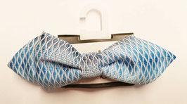 Mascherl - Fliege - festlich - hellblau-weiß - Fischgrätmuster