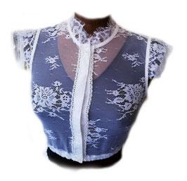 Bluse - Tracht Spitzenbluse edel in weiß - Damen Tracht