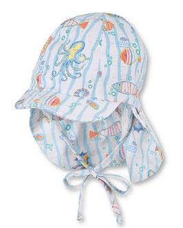 Kopfbedeckung - Schirmmütze mit Meerestieren & Nackenschutz - UV Schutz 50 + - Sterntaler