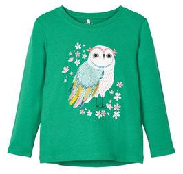 Shirt - Girl Shirt Eule grün - NAME IT MINI MÄDCHEN