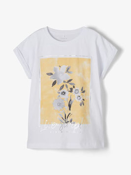 Shirt - kurzarm - Blumenprint - gelb - NAME IT KIDS MÄDCHEN
