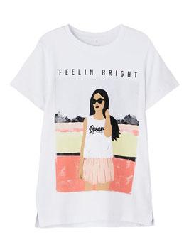 Shirt - kurzarm - weiß - orange - gelb - Girl - Motiv - NAME IT KIDS MÄDCHEN