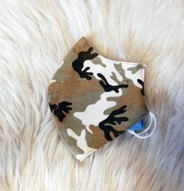 Mund-Nasen-Maske - camouflage - hell - für Kinder ab 8 Jahre geeignet