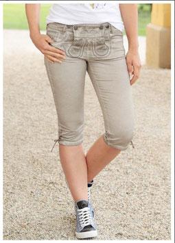Hose - kurz - Damen Jeans beige in Oilwashedoptik
