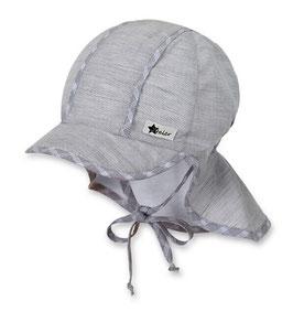 Kopfbedeckung - Schirmmütze mit Nackenschutz in grau mit Bänder - Uv Schutz 50 + Sterntaler