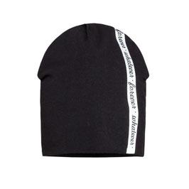 Kopfbedeckung - Mütze - coole Mütze für Mädchen und Buben - schwarz mit weißen Streifen