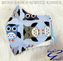 Mund-Nasen-Maske-Kinder - Eule - hellblau
