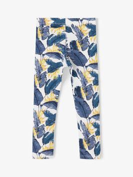 Leggings - Blätterprint - Biobaumwolle - blau - weiß - gelb - NAME IT MINI MÄDCHEN