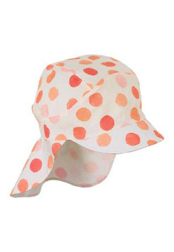 Kopfbedeckung - Schirmmütze mit Nackenschutz - orange - weiß - gepunktet - UV Schutz - Sterntaler