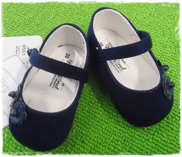 Schuhe - Babyschuhe - Taufschuhe marine mit Blumen - TAUFE