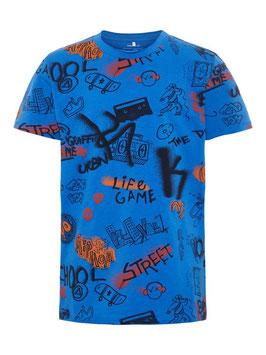 Shirt - Graffiti blau Shirt - NAME IT KIDS JUNGEN