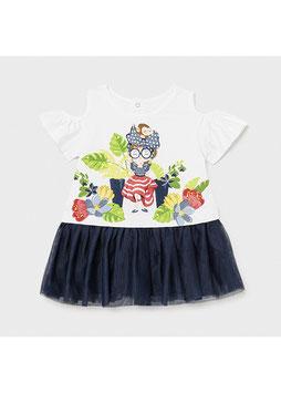 Kleid - Babykleid - Tüll - Schulteröffnung - marine - bunt - MINI GIRL - MJ