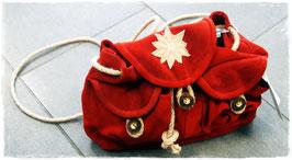 Trachten Rucksack in rot aus Leder