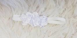 Kopfbedeckung - Stirnband - weiß - 3 Blüten - stretch - Festmode
