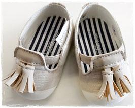 Schuhe - Babyschuhe - Mokassin aus Leinen - TAUFE - FESTMODE