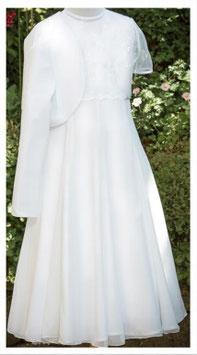 Erstkommunionskleid - Chiffon - Oberteil - weiß - Blumenverzierungen - SETANGEBOT - Kommunionkleid