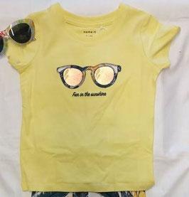 Shirt - kurzarm - Brille - gelb - Biobaumwolle - NAME IT MINI MÄDCHEN
