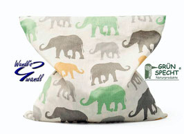 Kissen - Kirschkern - Kissen - grau - grün - gelb - Elefant