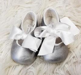 Schuhe - Babyschuhe - Spangenschuh mit Schleifenband - silber - Taufe