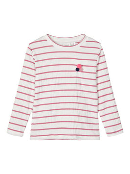 Shirt - Gestreiftes langarm Shirt in weiß mit rose Streifen - NAME IT MINI GIRL