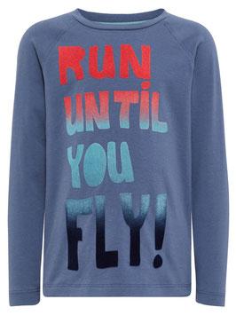 Shirt - Fliegershirt - blau - RUN UNTIL  YOU FLY - NAME IT MINI JUNGEN